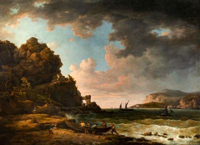 """Vista costera cercana a Terracina"" Escuela inglesa principios del siglo XIX. Seguidor de WILLIAM MARLOW"