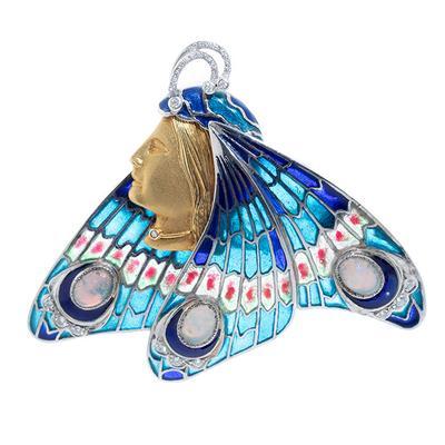 Frontis modernista de gran belleza y excepcionalidad en forma de mariposa,