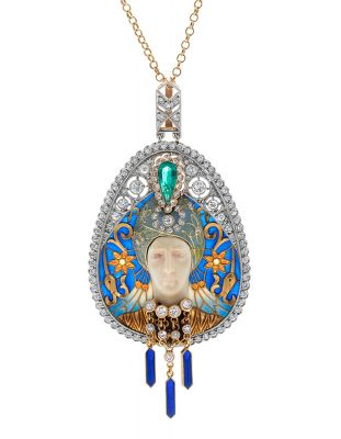 MASRIERA Y CARRERAS pendant; Barcelona, 40s-50s.In white gold, enamels, diamonds, emerald and ivory.