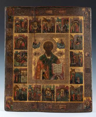 """""""San Nicolás Milagroso y su vida en 16 celdas hagiográficas"""" Escuela rusa, probablemente de los viejos creyentes, s. XVIII."""