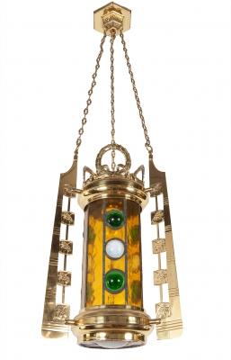 Lámpara de techo. En cristal emplomado y latón