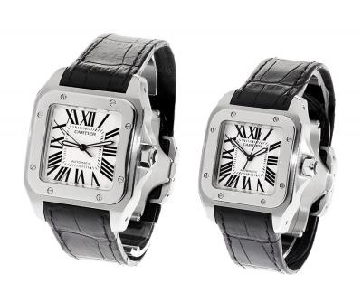 Pareja de relojes CARTIER Santos 100XL y Santos 100 Aut