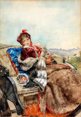 """""""Mujer en el carruaje"""" PALLARÉS ALLUSTANTE, Joaquín"""