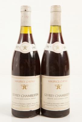 Dos botellas de Gevrey-Chambertin Maurice Chenu 1987.