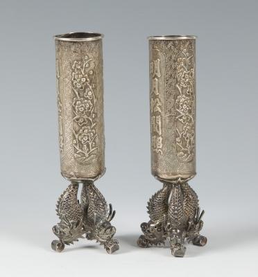 Pareja de objetos; China, siglos XIX – XX. En plata