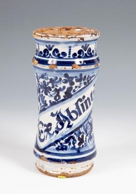 Albarelo o bote de farmacia. Cataluña, siglo XVIII.