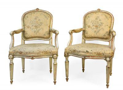 Pareja de sillones estilo Transición de Luis XV-Luis XVI. Italia, s.