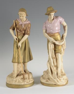 """Campesinos"" Pareja de esculturas ROYAL DUX, Bohemia."