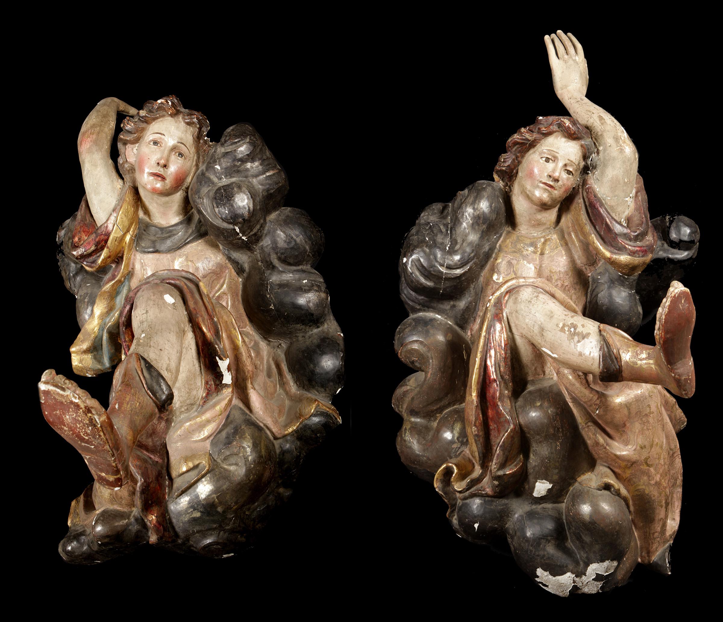 Pareja de ángeles barrocos, siglo XVII.