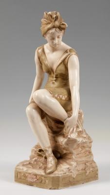 """Dama con turbante"" Figura Art Nouveau de ROYAL DUX; Bo"
