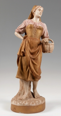 Figura Art Nouveau de ROYAL DUX; Bohemia, hacia 1890.