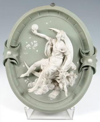 Plafón ornamental Jasper Ware de ETRURIA; Inglaterra, siglo XIX.
