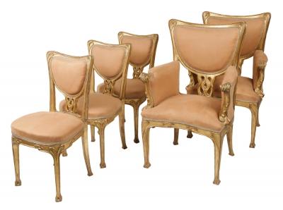 DE FEURE, Georges . Juego de dos sillones y tres sillas Art Nouveau