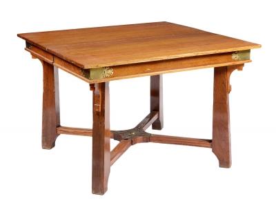 JOSEF HOFFMANN (Brtnice, República Checa, 1870 – Viena, 1956). Mesa de comedor extensible, h.