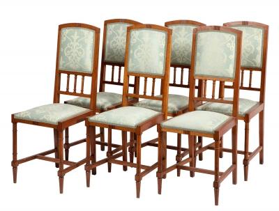 Juego de seis sillas de la Secesión Vienesa; Austria, hacia 1900.Madera de roble.