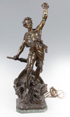 """Base de lámpara en bronce, finales del siglo XIX – principios del XX.""""Detresse""""."""