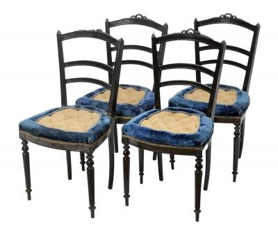 Conjunto de cuatro sillas Napoleón III; Francia, hacia 1870.Madera de caoba.