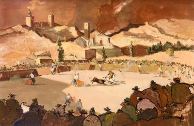 """RAFAEL DURANCAMPS I FOLGUERA (Sabadell, 1891 – Barcelona, 1979).""""Capea aragonesa""""."""