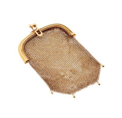 Pequeño bolso, ca. 1920.En oro de 18 kts.