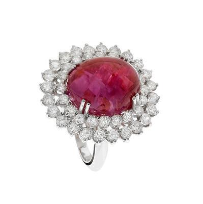Rosetón rubí y diamantes