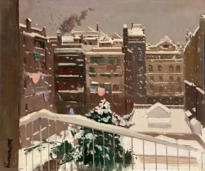 """""""Barcelona nevada desde la vivienda del artista"""" RAFAEL"""