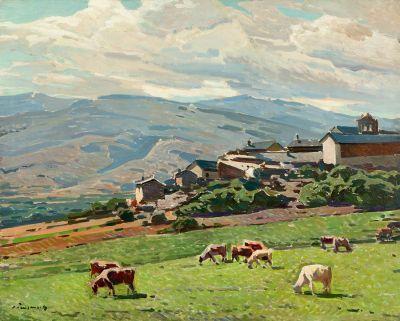 JOSEP PUIGDENGOLAS BARELLA (Barcelona, 1906 – 1987). Pueblo pirenaico.