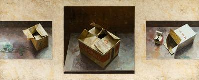 Raúl Mateo. Composiciones con cajas. Óleo sobre tabla.