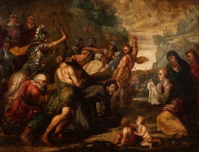 """Cristo camino del Calvario"" Escuela flamenca, siglo XVII."