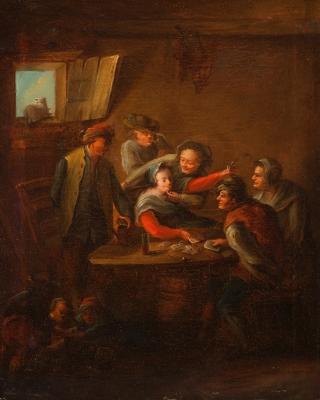 """""""Partida de cartas"""". Escuela holandesa del s. XVII."""
