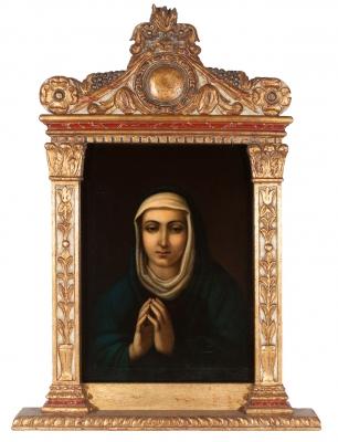 """Virgen anunciada"".  Escuela italiana, siglo XVIII."