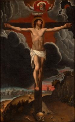 """""""La Crucifixión"""" Escuela española, siglo XVIII."""