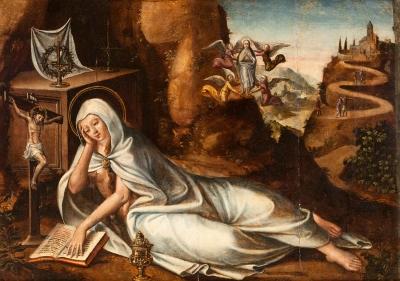 """""""María Magdalena en el desierto"""" Escuela española del s"""