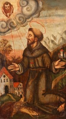 """""""San Francisco de Asís"""" Escuela española del siglo XVII."""