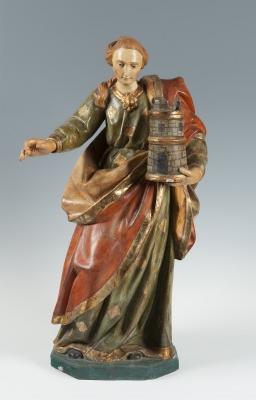 """Santa Bárbara"".  Escuela española, siglo XVIII."