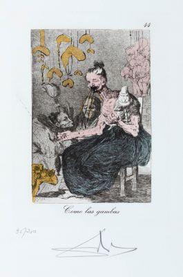 """SALVADOR DALÍ I DOMÈNECH (Figueras, Gerona, 1904 - 1989).""""Como las gambas"""", nº 44 of the series """"Los Caprichos de Goya""""."""