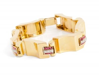 Pulsera Chevalier en oro amarillo de 18 kts y platino.