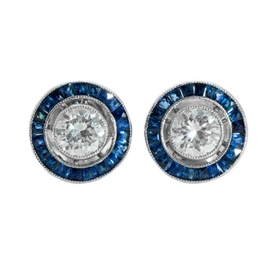 Pendientes en platino modelo ojo de perdiz, con diamant...