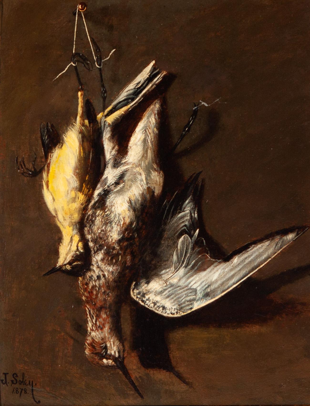 Escuela española del siglo XIX. Bodegón con aves. Oleo sobre tabla ...