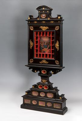 Reliquary; Italy, late 17th century.Rosewood, bronze and oil on copper.