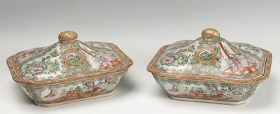 Pareja de legumbreras de estilo Familia Rosa de Cantón;