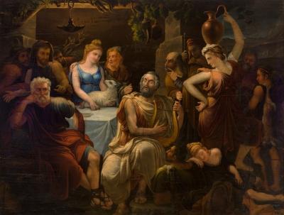"""""""Homero recitando sus versos a los griegos (Alegoría de"""