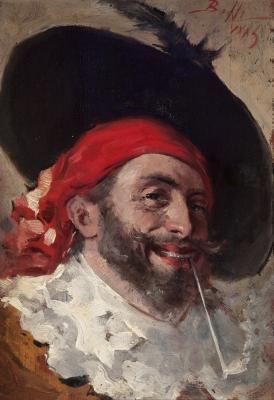 """""""Pirata con pipa"""", 1883. Benito Belli"""