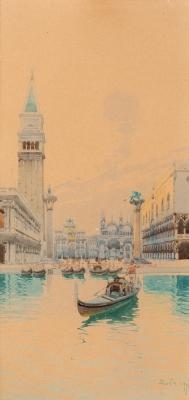 """Plaza san Marcos, Venecia"" Escuela italiana, finales d"