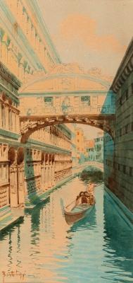 """""""Puente de los suspiros, Venecia"""" Escuela italiana, fin"""