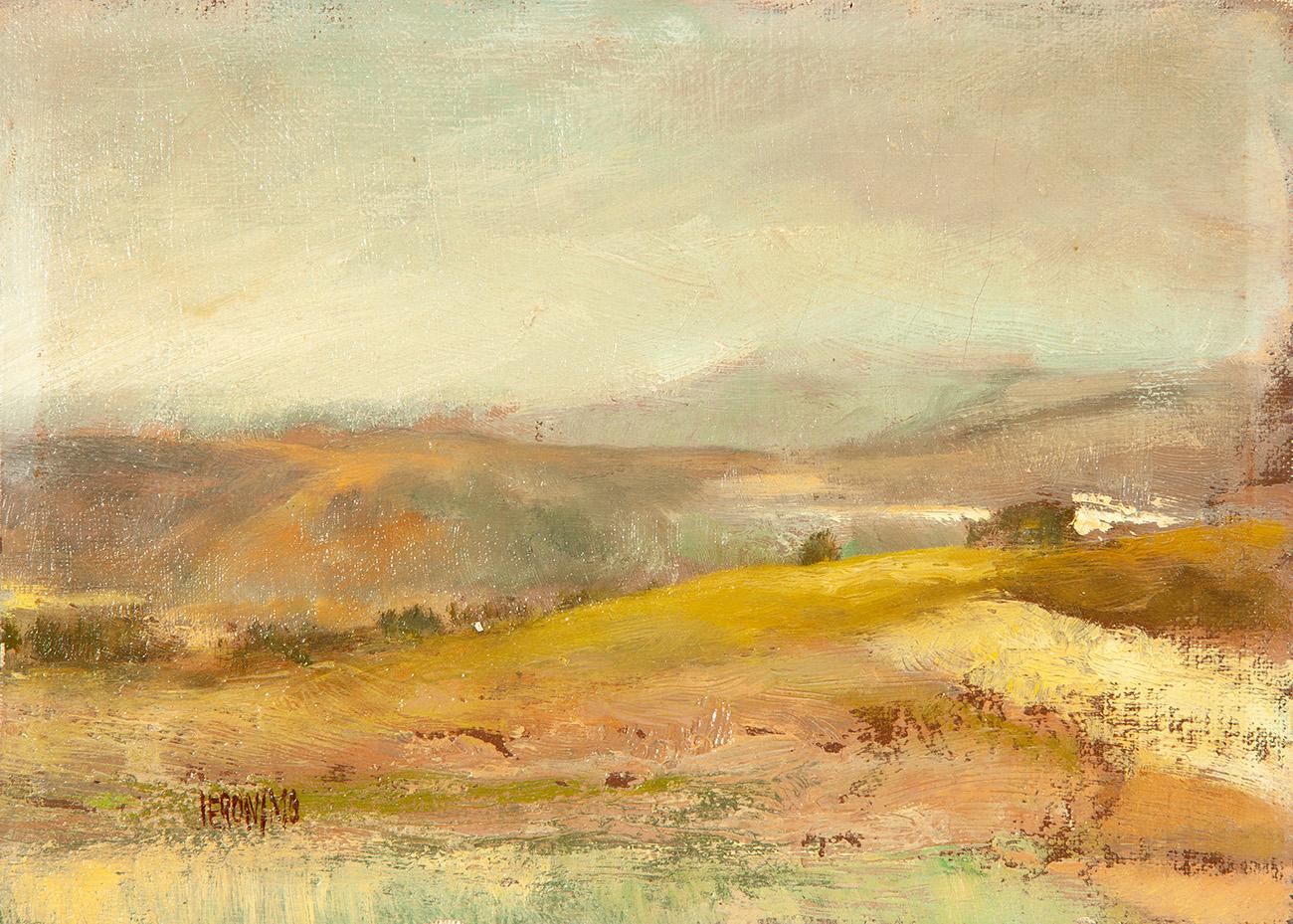"""JERÓNIMO MUÑIZ (Cistierna, León, 1938). """"Figuras en un paisaje ..."""