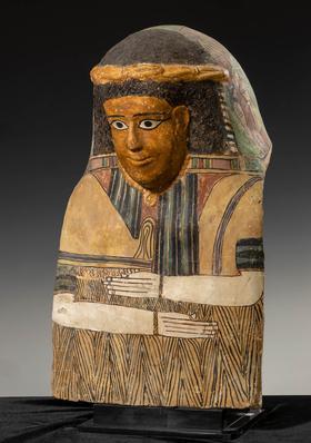 Romano-Egyptian cardboard, representing a lady. Egypt, Roman Period, I-II century ADCardboard and polychrome stucco.