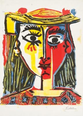 """""""Retrato de mujer con sombrero de borlas y blusa estamp..."""