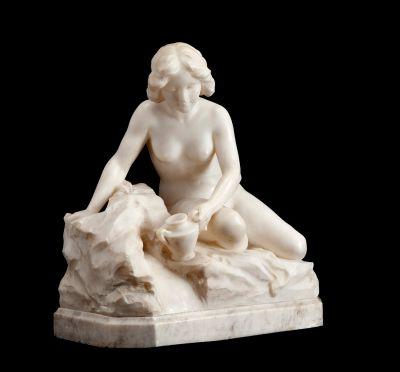 """GIOVANNI PINOTTI CIPRIANI (Nápoles, 1876 – 1925). """"Aguadora""""."""
