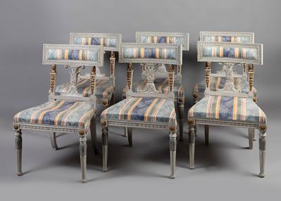 Seis sillas estilo Gustaviano. Suecia, s.XIX.