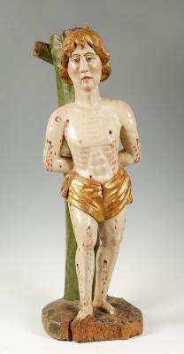 """Escuela sur de Alemania, hacia 1475.""""San Sebastián""""Madera tallada, policromada y dorada."""